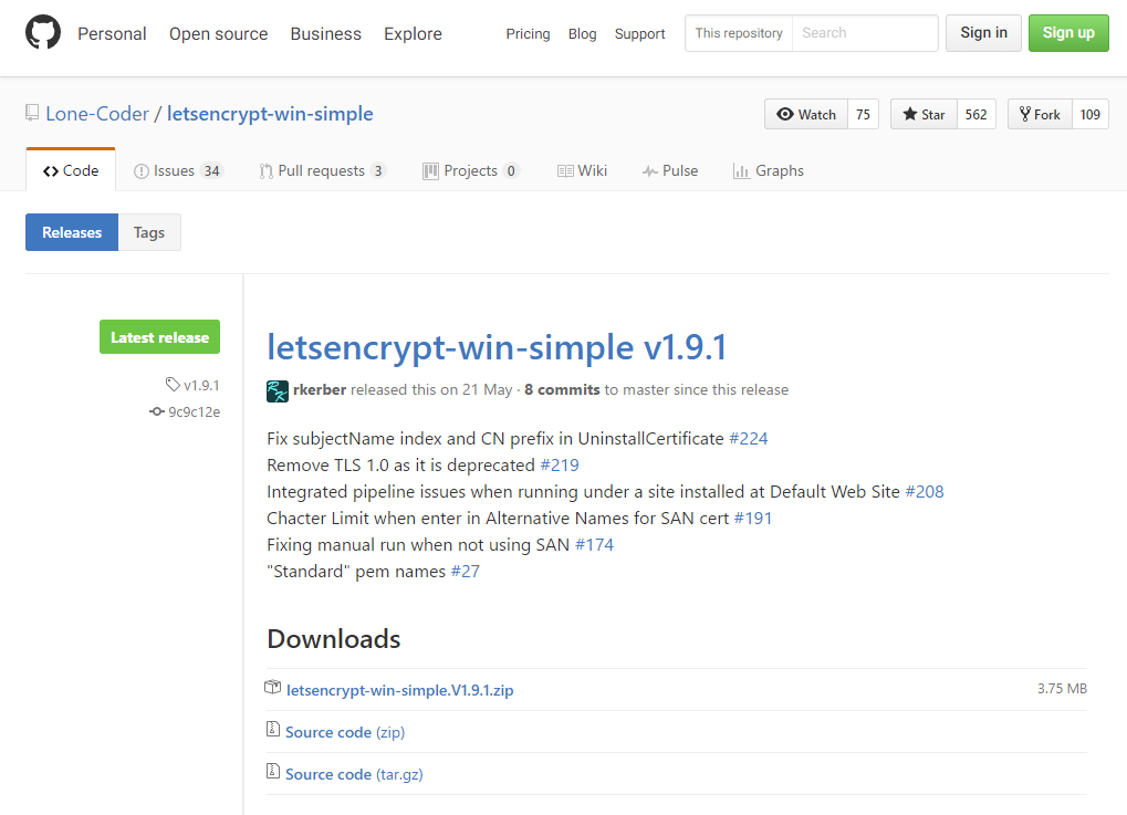 letsencrypt-win-simpleのダウンロード